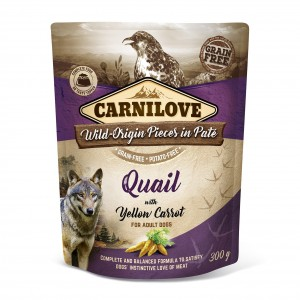 CARNILOVE DOG POUCH QUAIL & YELLOW CARROT 300 g